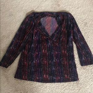 Purple, red and black patterned shirt